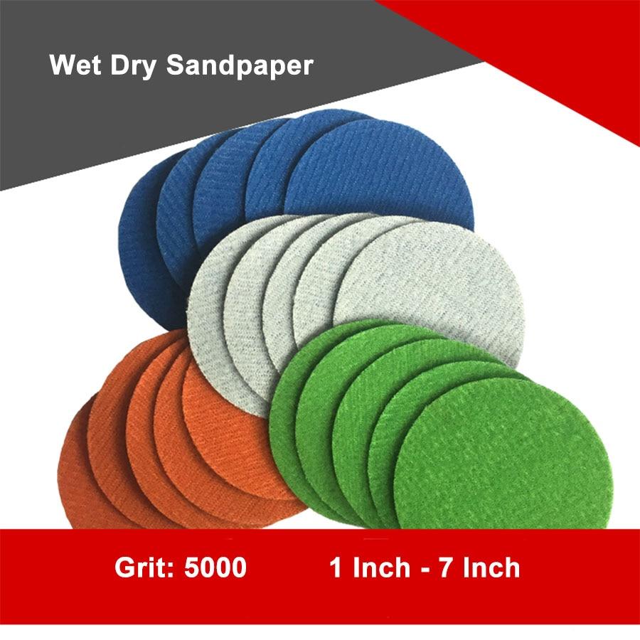 5-30Pcs 1 Inch-7 Inch Water Grinding Abrasive Paper Grit 5000 Sanding Discs Hook Loop Sandpaper Round Sandpaper Disk Sand Sheet