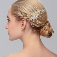 Handmade Rhinestone Crystal pearl Flower Wedding Hair Comb Bridal Headdress Women Wedding Head jewelry Accessories