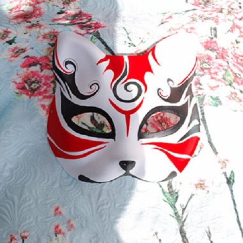 Half Face Japanese Style Hand-Painted Fox Mask Kitsune Beijing Opera Pattern Cosplay Masquerade for Party Halloween