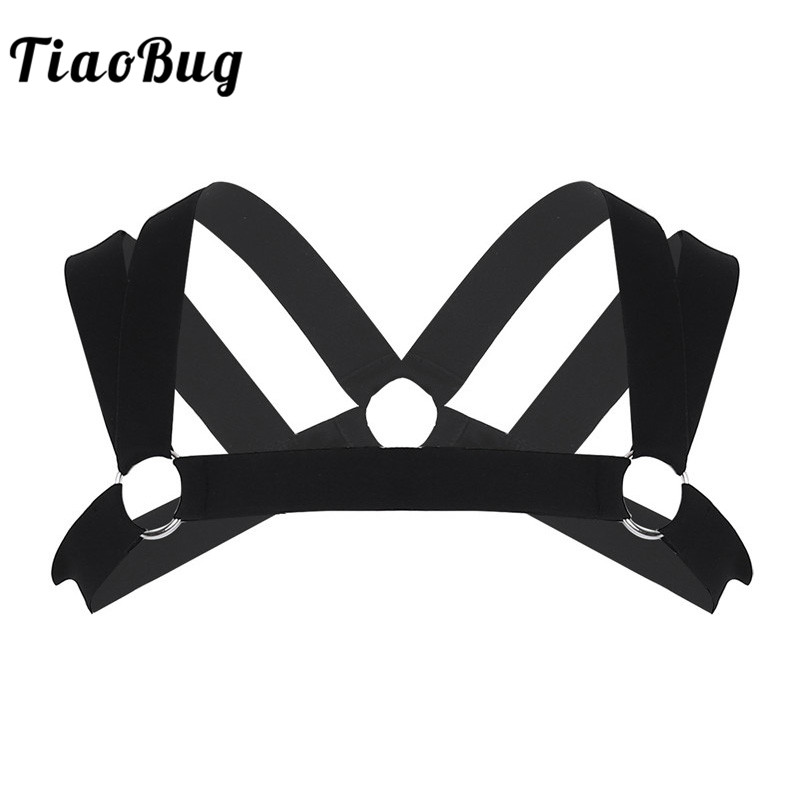 TiaoBug Men Double Shoulder Straps Elastic Chest Muscle Harness Belt with Metal Rings Fancy Club Party Sexy BDSM Bondage Costume