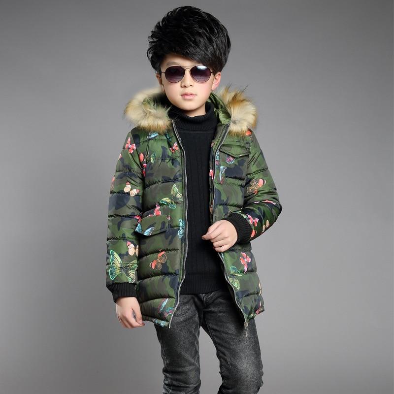 765948a82 Boys Winter Hoodies Coat Thick boys Parka Fur hood Winterjas Jongens ...