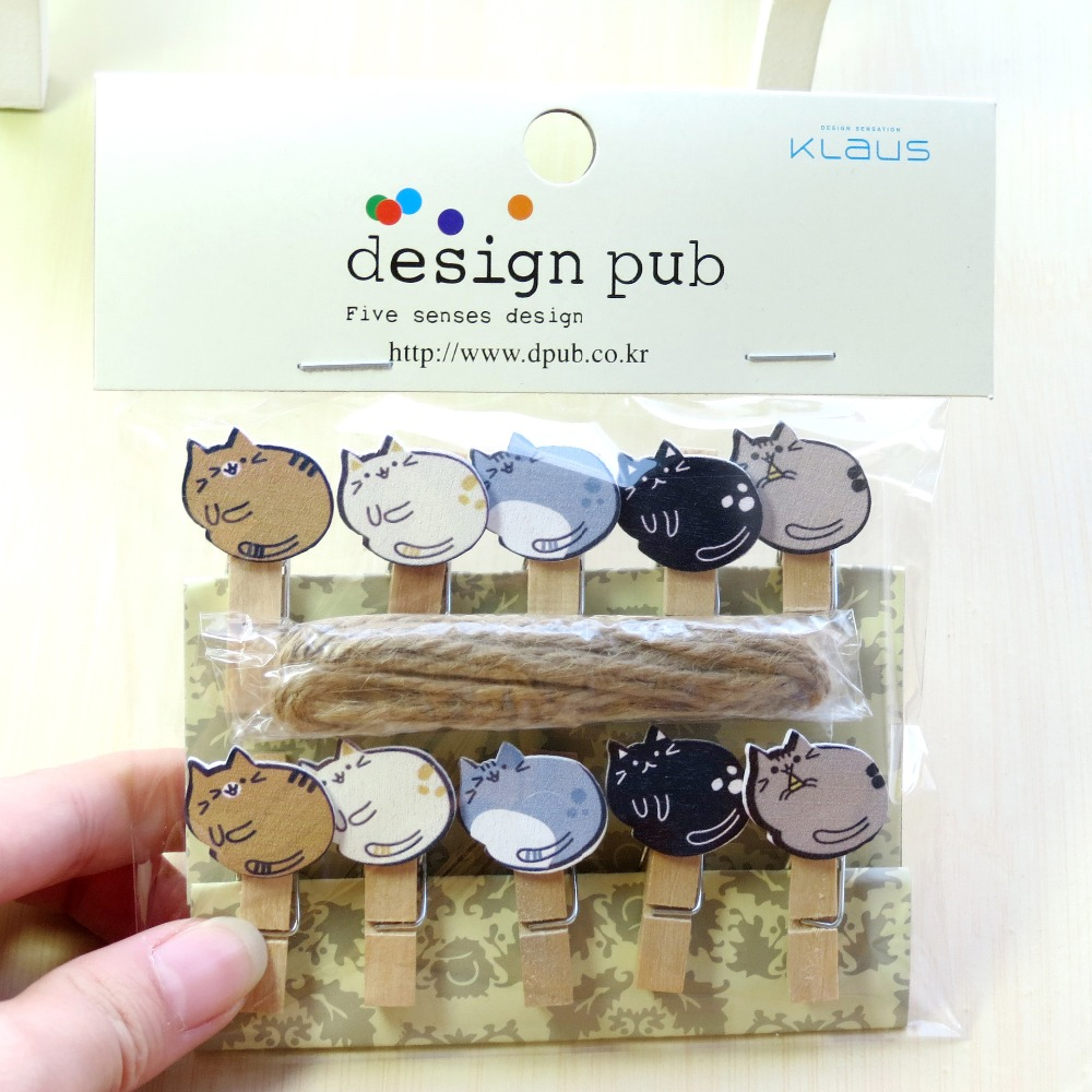 10 Pcs/Lot Lazy Cat Wooden Clip Photo Paper Clothespin Craft Clips Party Decoration Clip With Hemp Rope