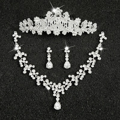 Hot Sale Sliver Plated Rhinestone Crystal Necklace+Earrings+Tiara 3pcs Jewelry Set For Bride Bridal Wedding Accessories (3)