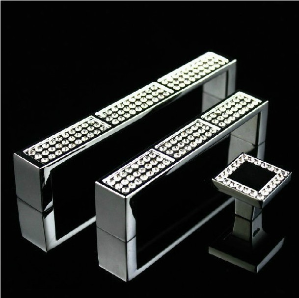 Modern Fashion Square Gems Glass Crystal Handles And Knobs For Cabinets Drawer Cupboard Pulls Bar (C.C.:128mm,Length:135mm)
