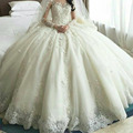 Vestido de noiva Hot sale Custom made V Neck Lace Appliques Ball gown Wedding dresses 2017 Arabic Wedding dress Bridal gown
