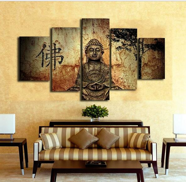 5 Piece Modern Home Decor Wall Art Buddha Paintings Cuadros ...
