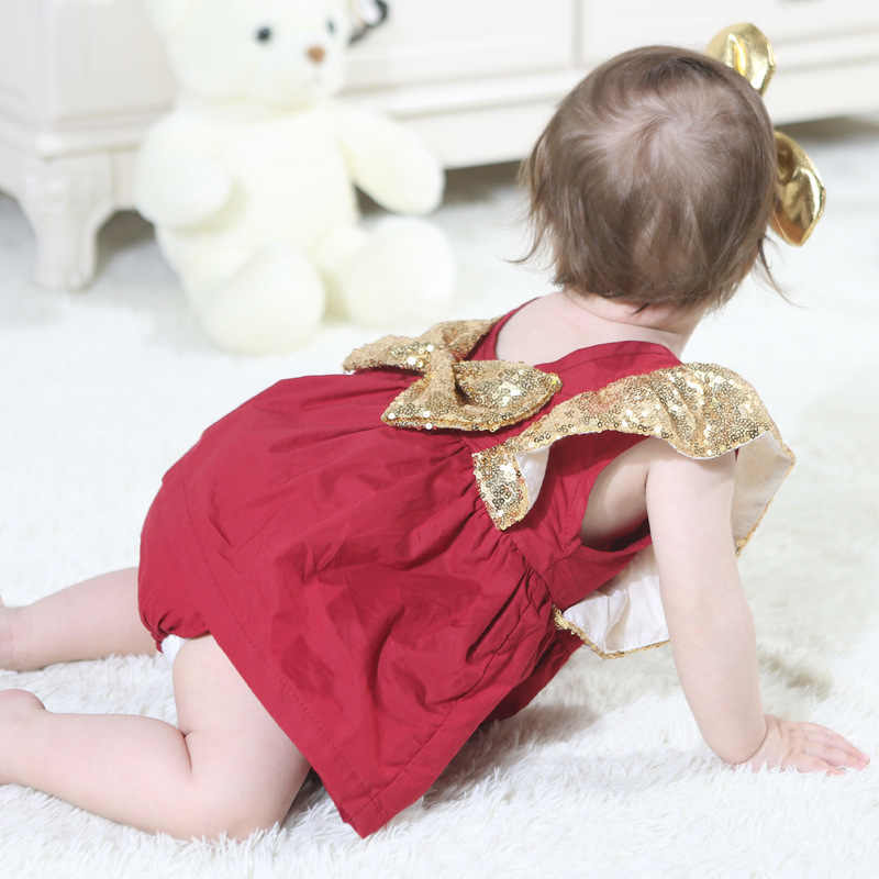 Sodawn Baby Girl Clothes Bow Dress 2019 Summer Baby Clothes Sequins Small Flying Sleeves Romper Children Clothing Cute Kids Suit
