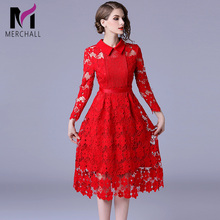 Merchall Fashion Designer Runway Dress Autumn Women Long sleeve Lace Hollow out Ruched Slim Elegant Midi Red Dresses Robe