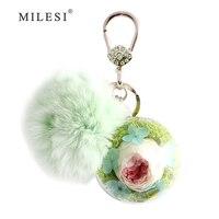 Milesi Pompom Trinket Konijnenbont Sleutelhanger Auto Sleutelhanger Eeuwige Bloemen Charm Hanger Voor vrouwen Handtas D0167