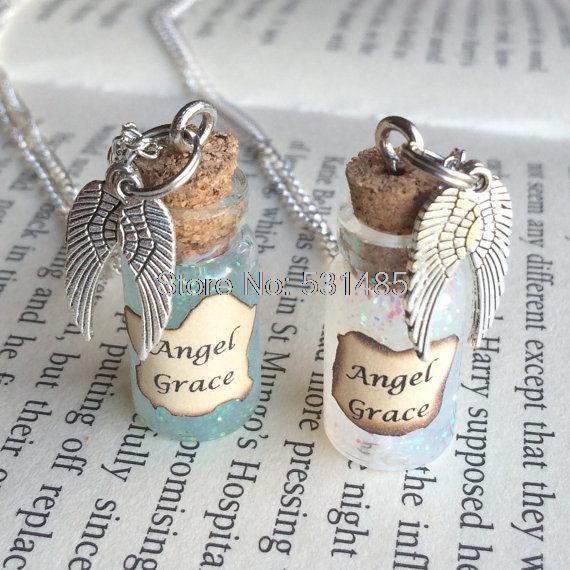 12pcs/lot Angel Grace Bottle Necklace Pendant inspired by Supernatural
