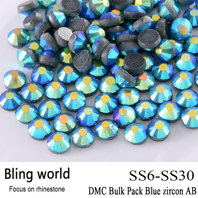 El CraftsOutlet DMC Hotfix de Cristal de Calidad Superior Redondo Azul circón AB Embellecimiento Rhinestone Tamaño SS6 SS10 SS16 SS20 SS30