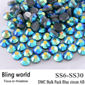 The CraftsOutlet DMC Hotfix Superior Quality Glass Round Blue zircon AB Rhinestone Embellishment Size SS6 SS10 SS16 SS20 SS30