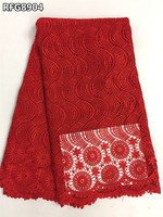 Big red african guipure lace fabric 2016 most popular nigerian cord lace fabric high quality for bridal dress RFG8904
