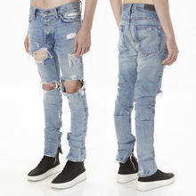 Hirigin Men's Slim Skinny Runway Straight Elastic Denim Hole Full Length Destroyed Ripped Jeans