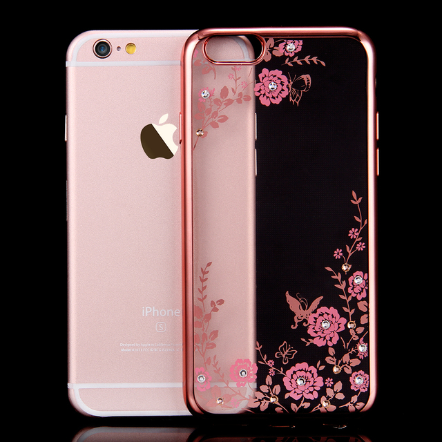 buy popular bdf07 00bcb US $2.99 |Flora Diamond Silicone Case for iPhone 7 6 6S Plus 5 5S SE Chic  Flower Bling Soft TPU Clear Phone Back Cover Mobile Accessories-in Fitted  ...