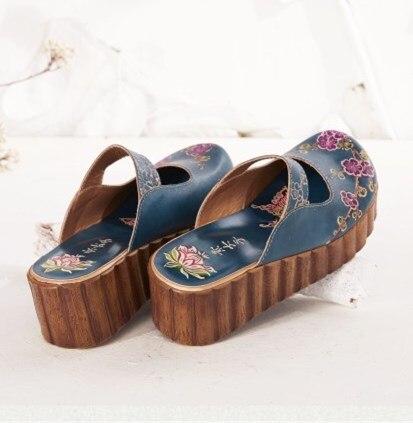Careaymade w stylu Folk głowy warstwy skóry wołowej czysta ręcznie rzeźbione buty, retro sztuki mori dziewczyna buty, moda damska na co dzień pantofel w Kapcie od Buty na  Grupa 2