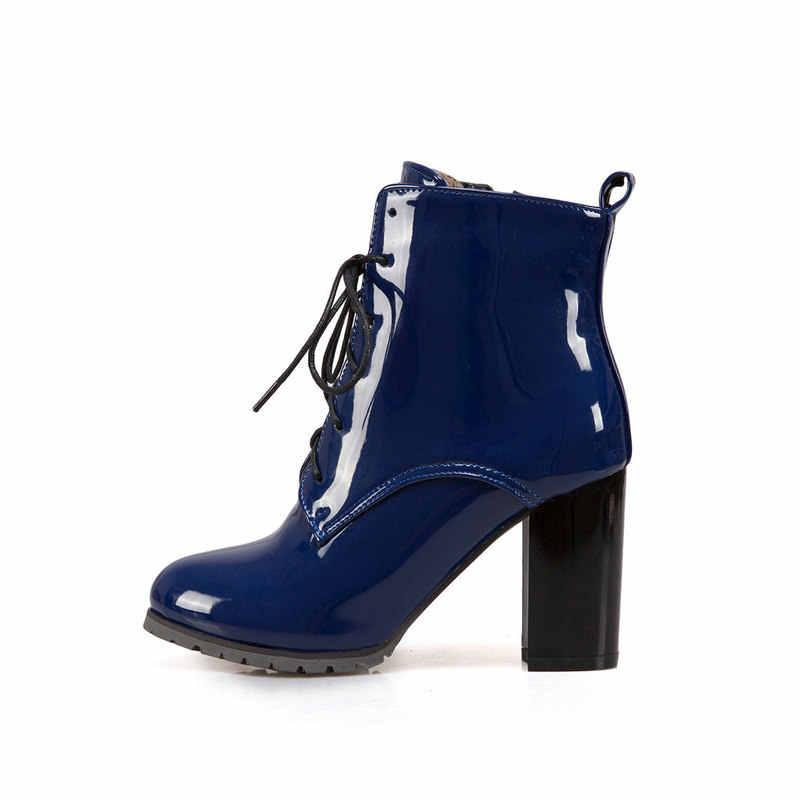 Kadın Kare Yüksek Topuk ayak bileği bağcığı Botları Moda Yan Fermuar Elbise Yuvarlak Ayak Çizmeler Kısa Peluş Kışlık Botlar Siyah Kırmızı Mavi