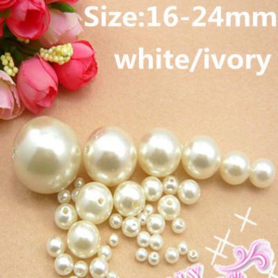 Imitação de Pérolas de Resina Branco E Marfim 16-24mm ABS Redonda Com Buraco Soltos Artesanato Beads DIY Jóias de Casamento vestidos Decorações