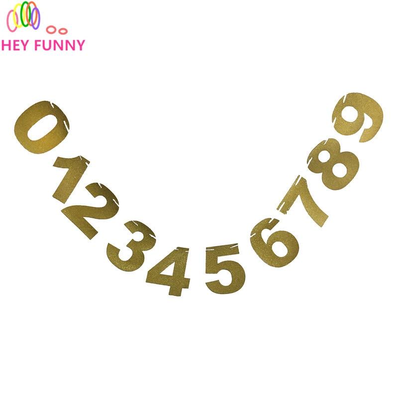 1 set Number Banner Number Cards Banners Glitter Paper Gold Number Decoration number