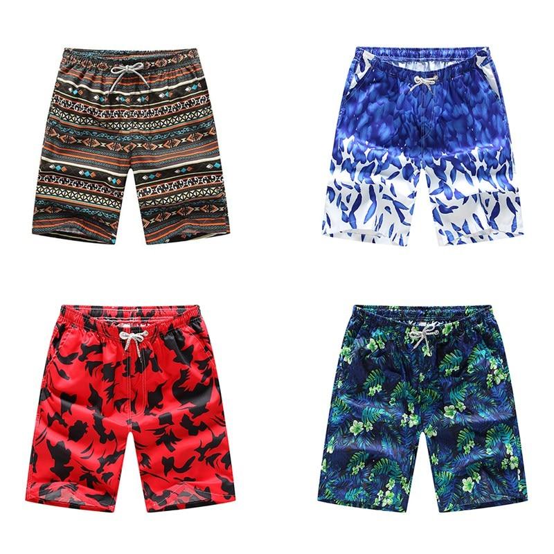 Swimming Shorts Women Men Print Drawstring Loose Quick Drying Short Fifth Pants Beach Swimwear Surfing Swim Trunks Swimsuit