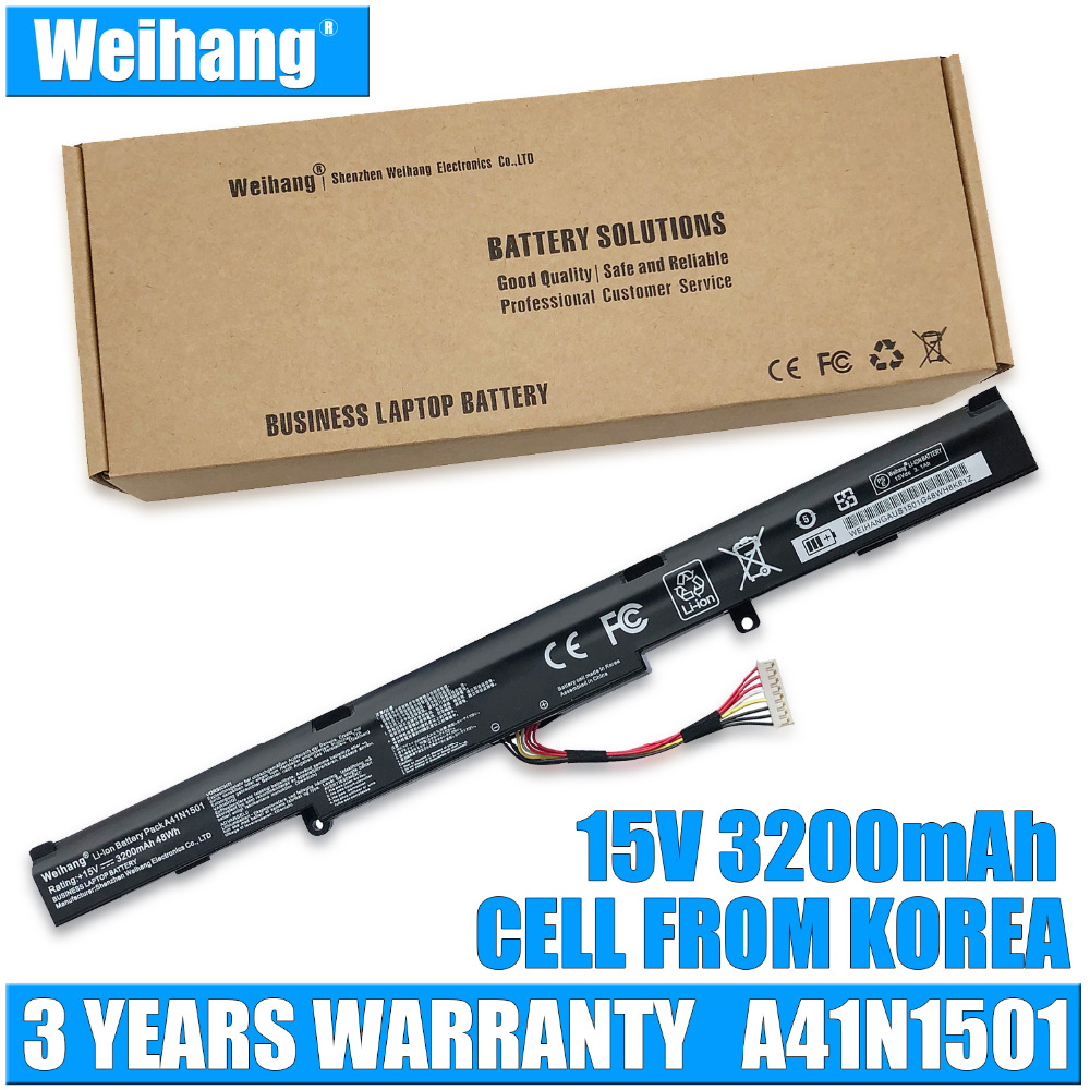 Weihang 15V 3200mAh 48Wh A41N1501 Laptop Battery For ASUS GL752JW GL752 GL752VL GL752VW N552 N552V N552VW N752 N752V N752VW