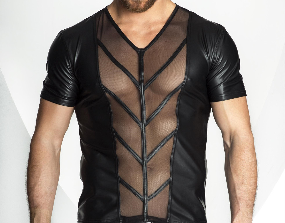 Hot Sexy Lingerie Plus Size Men Exotic Tanks Catsuit Latex PU Nightwear Sexy Mens See Through Top Tanks Shirts Exotic Man