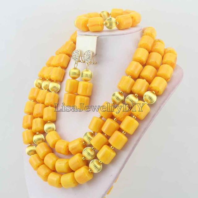 Hot Nigerian Wedding African Coral Beads Jewelry Set Coral Beads Necklace Jewelry Set Free Shipping HD6005