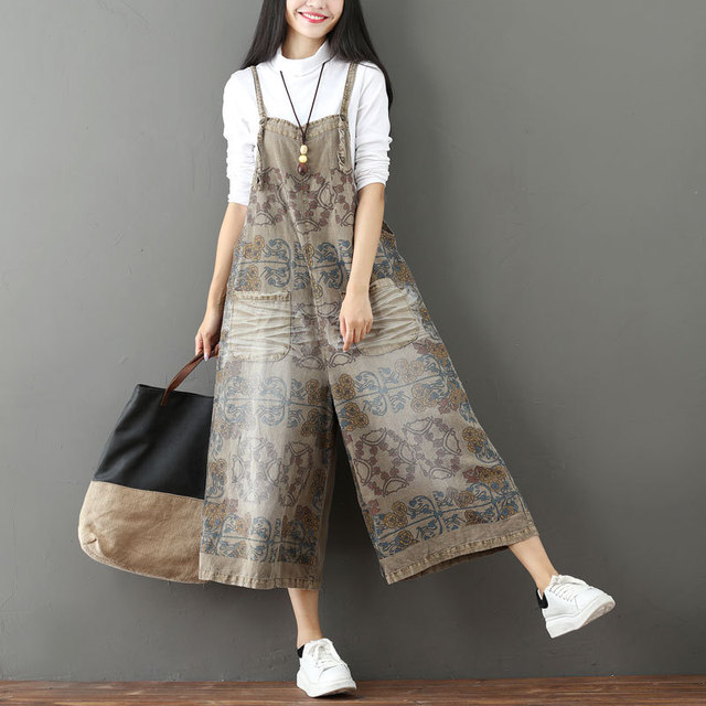 dd117956af3 Women Casual floral Print Denim Jumpsuit Vintage Scratch Pattern Denim  Overalls Rompers Woman Wide Leg Green Loose Jumpsuits