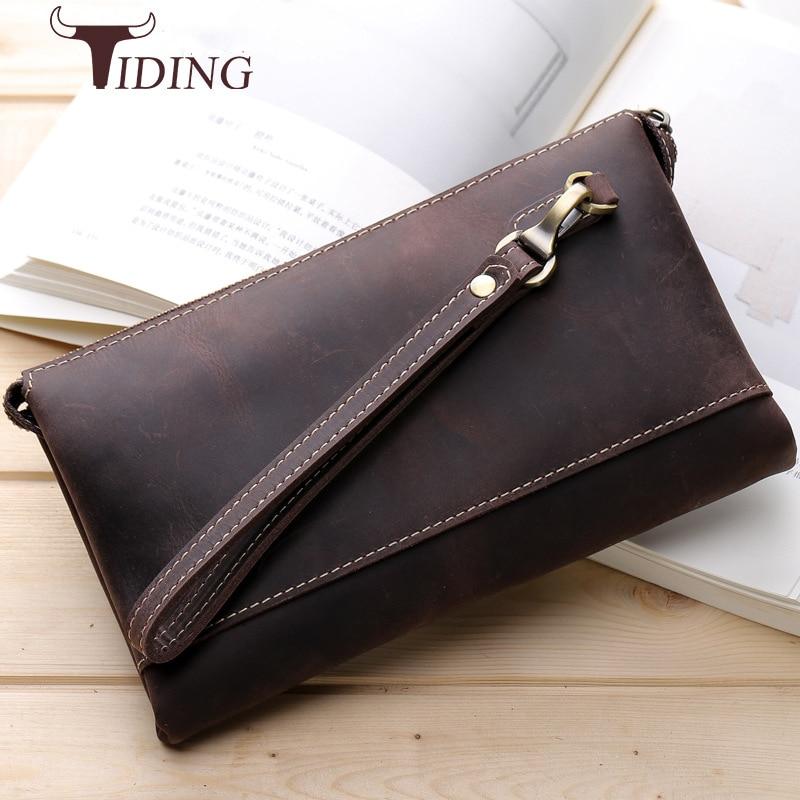 Tiding Men/'s Genuine Leather Wallet Clutch Pouch Handbag Wrist Bag