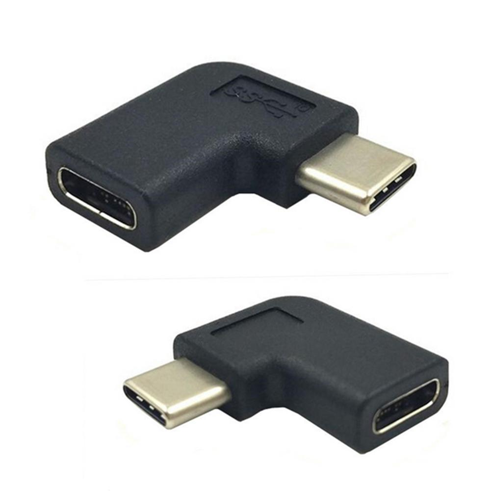 90 Degrees L-type USB 3.1 Type-C Male To Female Adapter Connector Converter Plug New