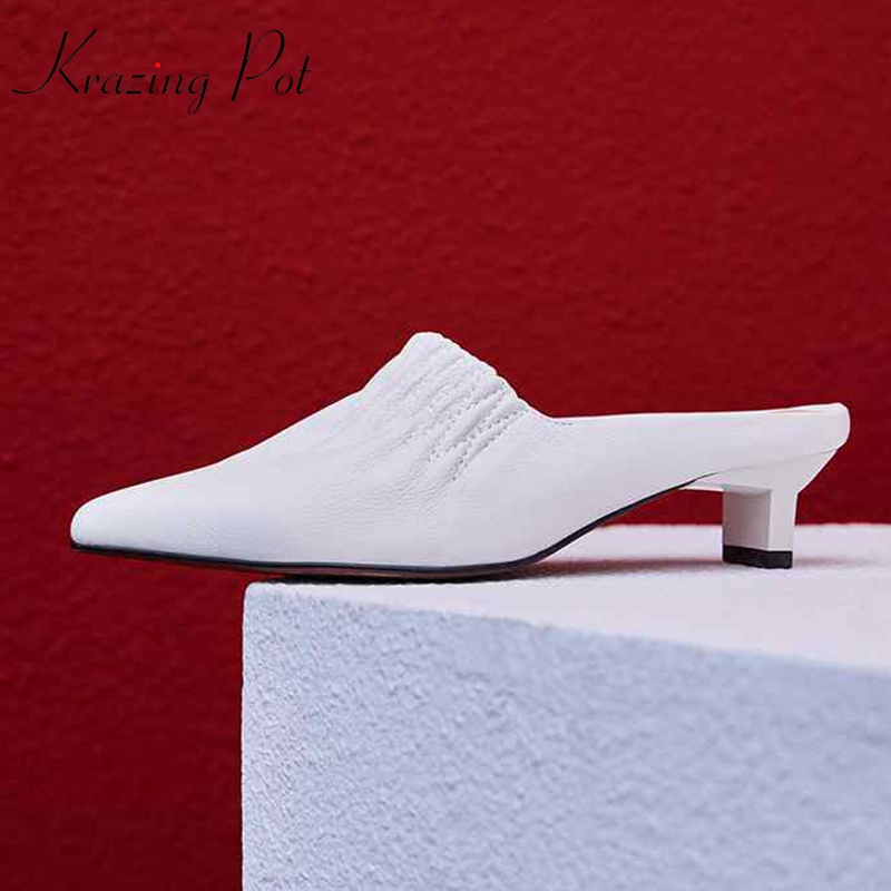 Krazing pot 2019 full grain leather pleated pointed toe wedding dress European stiletto med heels mules women fashion pumps L18-in Women's Pumps from Shoes    1