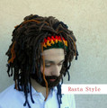 Wig Beard Hats Rasta Bandana Dreadlocks Handmade Crocheted Winter Men's Halloween Costume Boyfriend Gift Funny Bearded Beanies