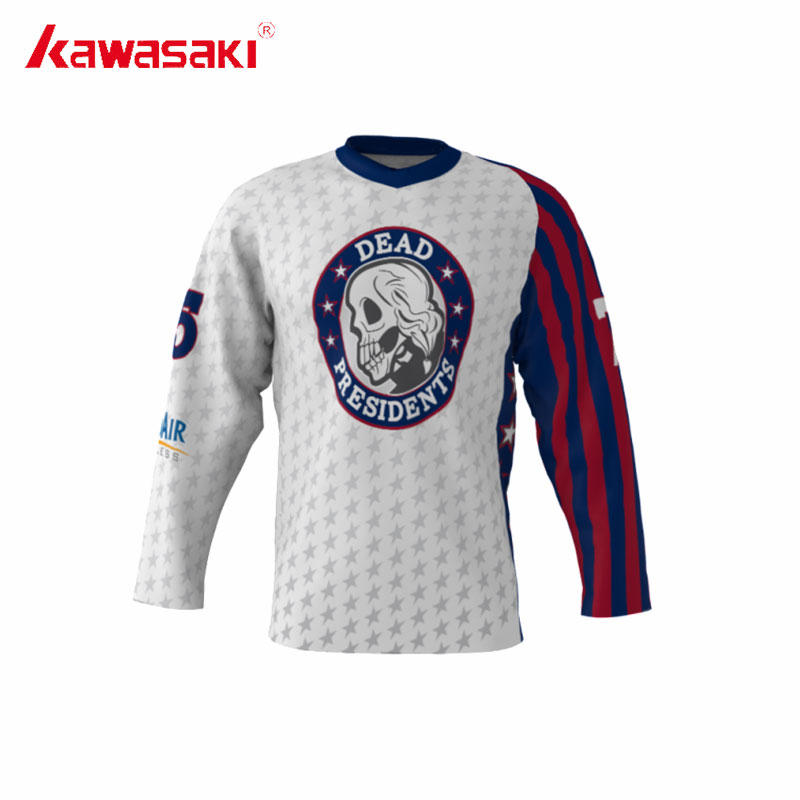 Kawasaki Custom Ice Hockey Jersey Dead Presidents Shirt Men's Practice Sublimation Plus Size 4XL Youth Hockey training Jerseys ice hockey jersey usa 30 jim craig 17 jack o callahan 21 mike eruzione steenberge 1980 miracle on ice team sewing size s 3xl