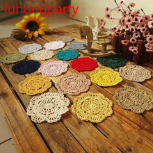 PD040 ZAKKA Handmade 12cm Round flower Lace Doilies Crochet Coaster Table Place mats cup mat 10pcs/Lot