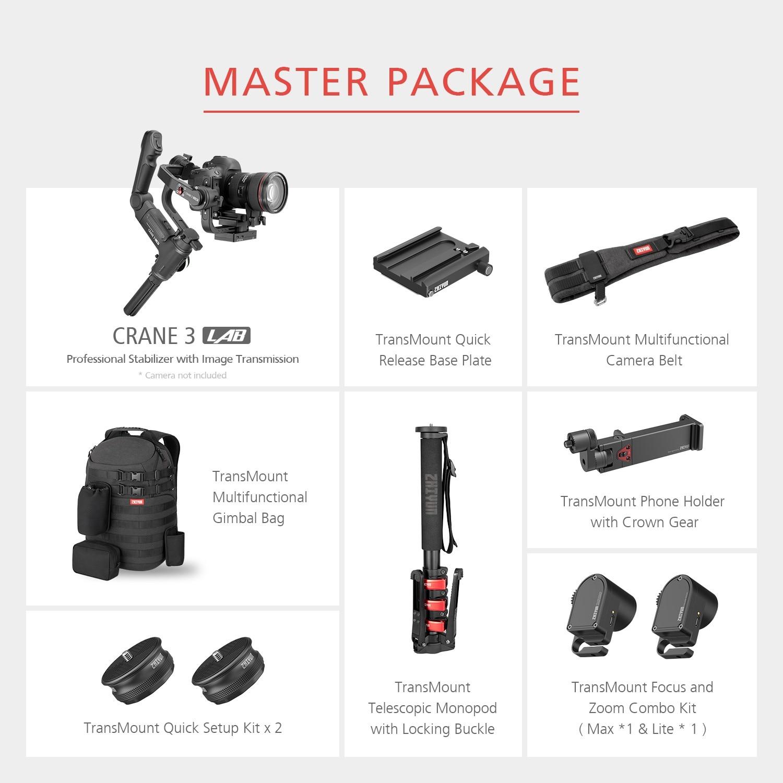 DHL Zhiyun Crane 3 LAB 3-axis Handheld Gimbal DSLR Camera stabilizer for Sony A7M3 A7R3 Canon 6D 5D Panasonic GH4 GH5 Nikon D850 11