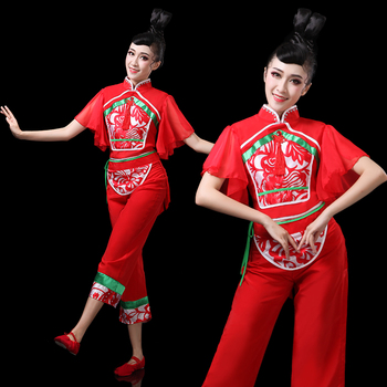 Chinese folk dance costume for woman clothing stage wear national ancient fan dance traditional Chinese dance costumes DD1963