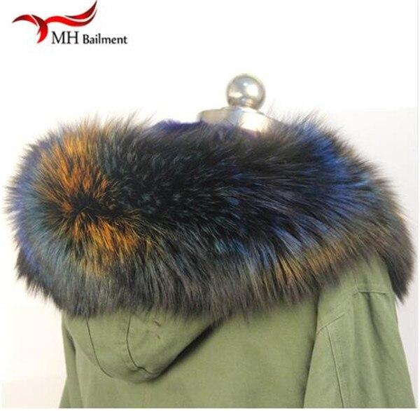 Шарф из натурального меха, пальто с меховым воротником, Женское зимнее пальто, меховые шарфы, роскошный мех енота, настоящий зимний теплый шейный платок - Цвет: B