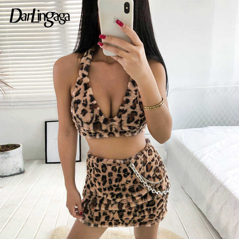 c66d864e84767c Detail Feedback Questions about Darlingaga Fashion faux fur shaggy bralette  crop top bra backless leopard print halter top women lace up cami sexy  camisole ...