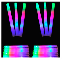 50pcs/lot Multicolor LED Flashing Light Sticks Color Changing Strobe Foam Baton for Party Festival Supplies Birthdays Child Toy