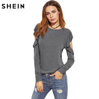 SheIn Solid O Neck Casual T Shirts Spring Autumn Women Ladies T Shirt Heather Grey Ruffle