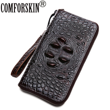 COMFORSKIN Brand Hot Designer Crocodile Head Men Wallet 2018 New Arrivals Premium 100% Cowhide Leather Alligator Zipper Purses