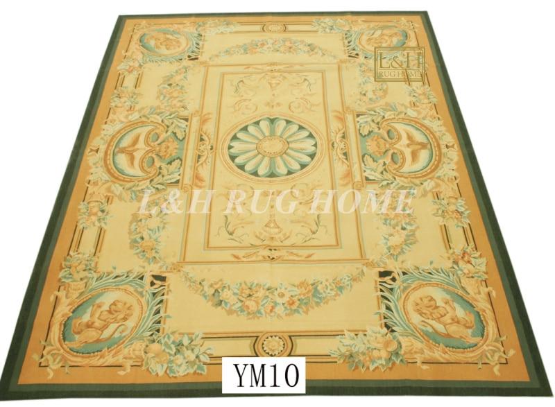 Livraison gratuite 9'x12 'tapis Aubusson français à la main tapis aubusson