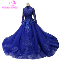 2019 High Neck Quinceanera Dresses 15 Years Ball Gown Tulle Sweet 16 Fairy Gowns Puffy High Neck Royal Blue Lace Vestidos De 15