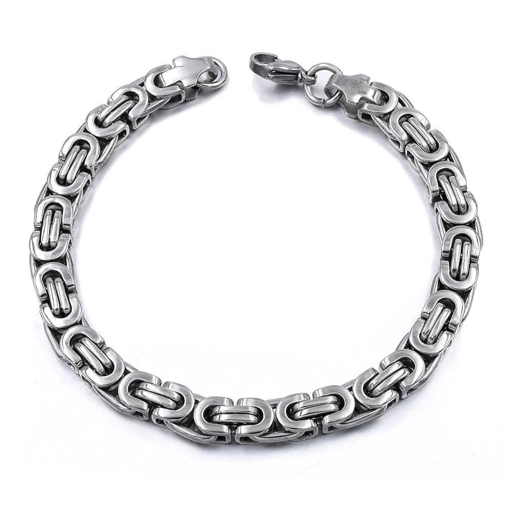Silver Colour Stainless Steel bracelets Link Byzantine Chain Bracelet For MEN 10
