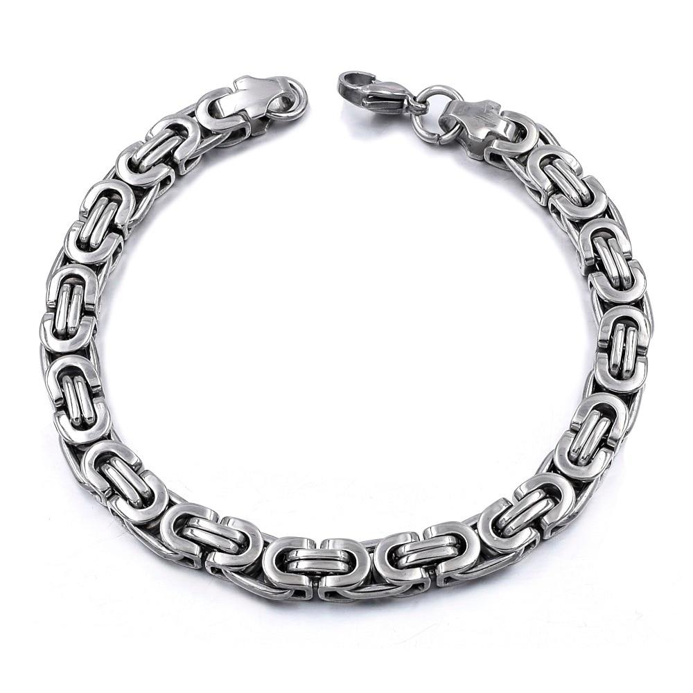 Silver Colour Stainless Steel bracelets Link Byzantine Chain Bracelet For MEN 10
