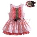 Pettigirl moda rendas de algodão do bebê meninas vestido com headband boutique impresso bebê crianças se vestem com arco roupas miúdo g-dmgd906-803