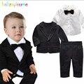 Crianças Meninos Terno Cavalheiro Casamento Criança Roupas Arco Jaqueta + Camisa + Calça 3 pcs Set Outfit Roupas do Menino Da Criança 0-3Year/Outono BC1411