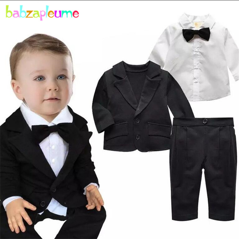 Kids Boys Suit Gentleman Child Wedding Clothing Bow Jacket+Shirt+Pant 3pcs Set Outfit Toddler Boy Clothing 0-3Year/Autumn BC1411 2017spring hot sale handsome boys gentleman suit children s formal clothing set kids wedding party clothes vest shirt pant 3pcs