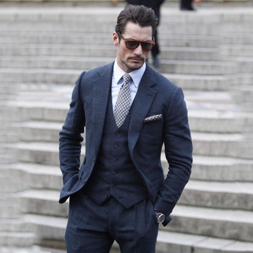 71b30fd62 Traje de boda de Tweed azul marino hecho a medida 2018 para hombre Formal  ajustado de invierno de ...