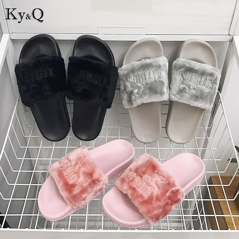 Women Slippers Zapatos Mujer Non-slip comfort Fluffy Faux Fur Fashion Plush Female Casual Slipper Flip Flop Sandal women shoes slipper